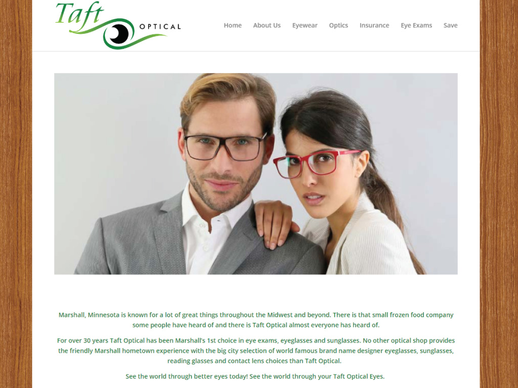 Taft Optical website by dba designs and The Visionaries Group